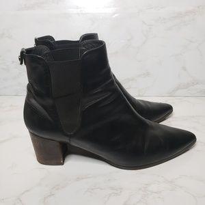 Stuart Weitzman Black Leather Pointed Toe Booties